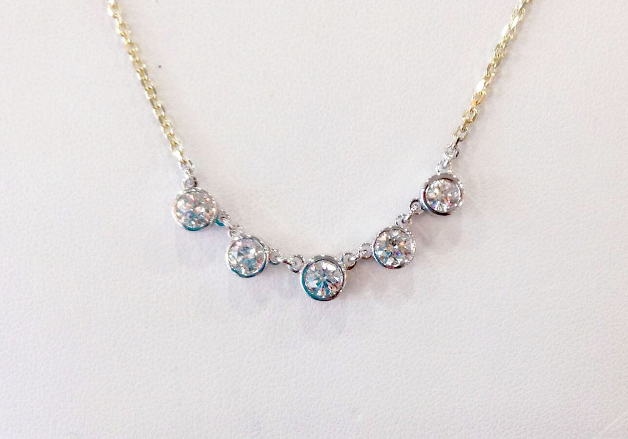 5 stone bezel necklace