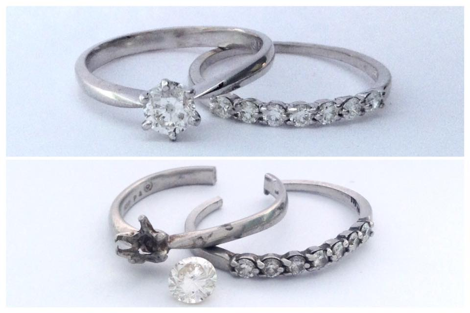 A before and after picture of a wedding set repair. Before shows engagement ring and wedding band both cut in the back, and head assembly of engagement ring bent with the diamond out.