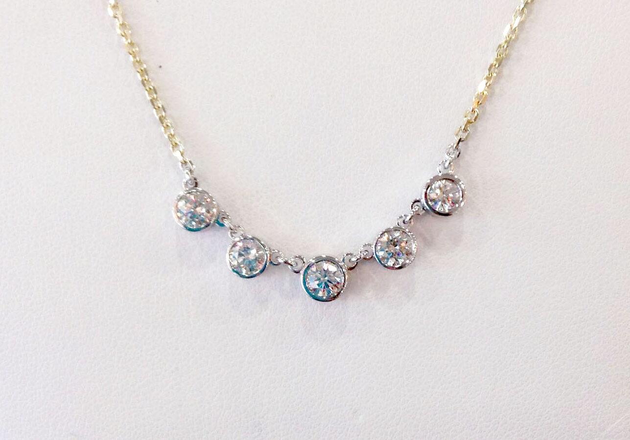 5 stone bezel necklace